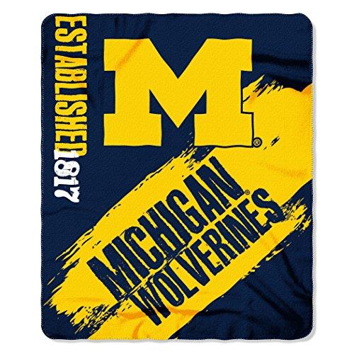 "NCAA Michigan Wolverines Painted Printed Fleece Throw Blanket, 50"" x 60"", Blue"