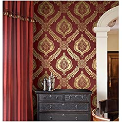 Brewster Zoraya Damask Strippable Wallpaper, Burgundy
