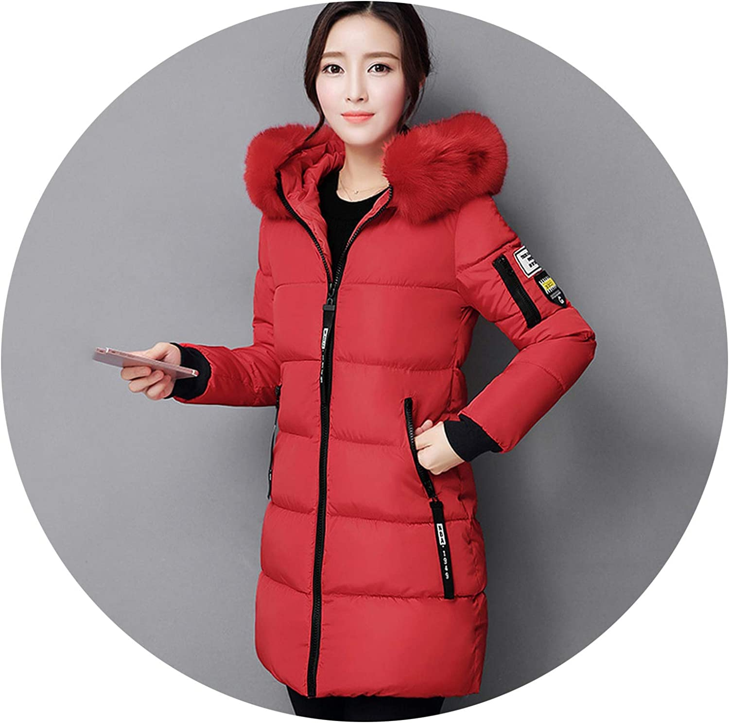 Prefect,Women Winter Jacket with F-ur Collar Warm Hooded Female Coat,RED,XL