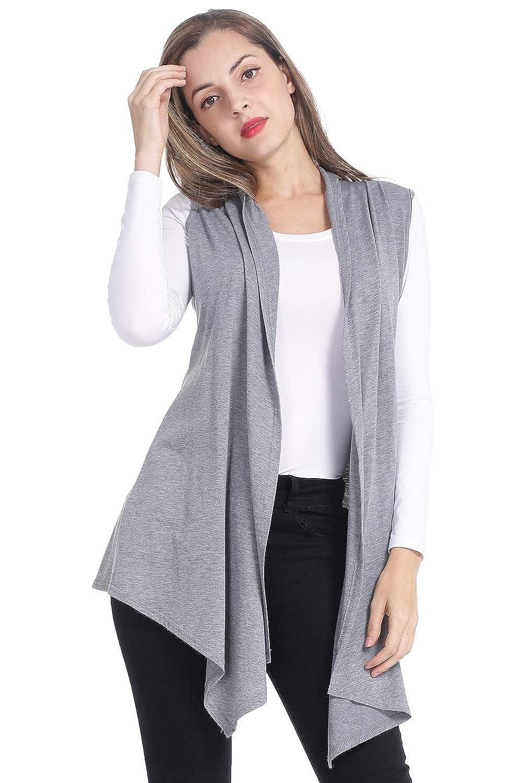 Women Sleeveless Cardigan Long Draped Open Front Lightweight Vest
