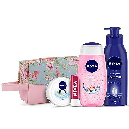 NIVEA Women Combo, Body Milk Nourishing Lotion 400 Ml, Waterlily & Oil Shower Gel 250 Ml, Soft Light Moisturizer 50 Ml, Cherry Lip Balm 4.8 G, With Grooming Pouch, 5 Pieces