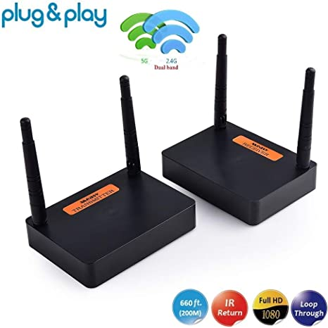 measy FHD676 WiFi transmisor y Receptor HDMI Wireless Extensor inalámbrica Extensor Antena to 528ft (línea de visión 160m)de Apoyo de Control Remoto ...