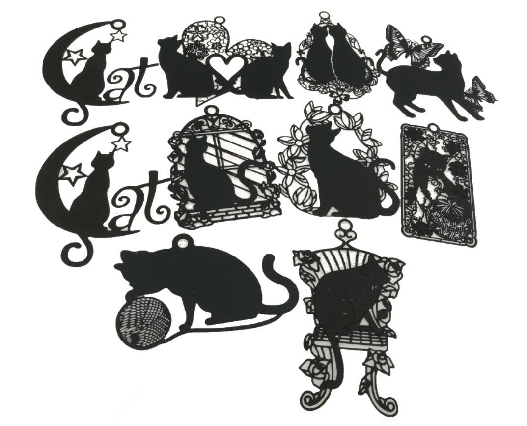 Cute Vivid Hollow Design Matte Black Cat Kitty Metal Mini Bookmarks Pack Of 10 For Books Kids Student Teacher Adults Gifts Winterworm