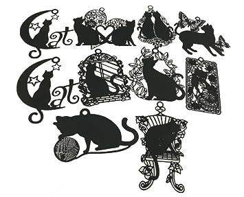 amazon cute vivid hollow design matte black cat kitty metal Hello Kitty Flatware cute vivid hollow design matte black cat kitty metal mini bookmarks pack of 10 for books