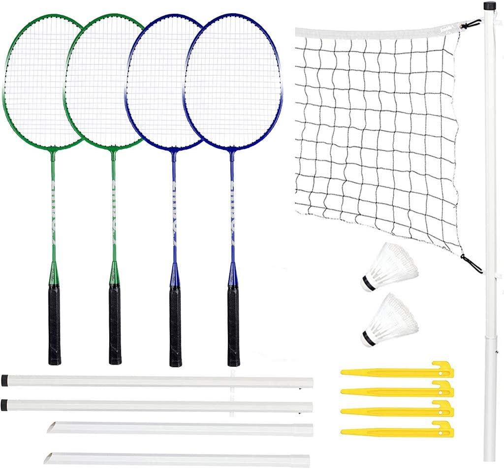 COOLLL 4 Player Badminton Set 4 Pack Badminton Racquets Portable Outdoor Tennis Rackets Complete Badminton Combo Set Badminton Net System for Adults Kids Family Garden Outdoor Sport Game