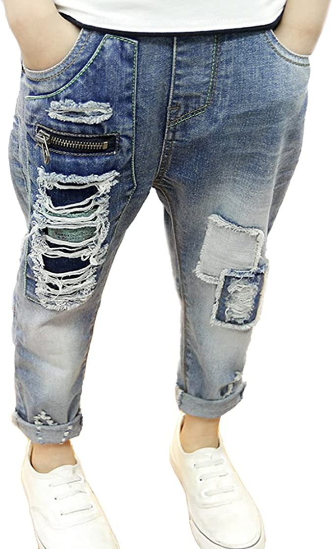 Boys Elastic Waist Jeans Slim Fit Style Denim Trousers Kids Ages 2-12 Years