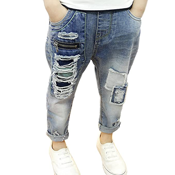 18eac43bece NABER Kids Boys' Slim Washed Denim Fashion Elastic Waist Ripped Jeans Ages  4-13