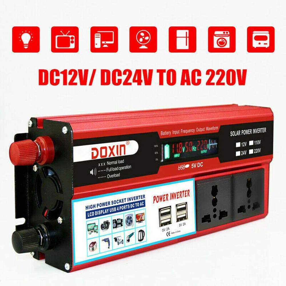 BessieSparks 2000W Power Inverter DC 12V to AC 220V Modified Sine Wave 5V Portable Charger Converter with 4 USB /& LCD Digital Display