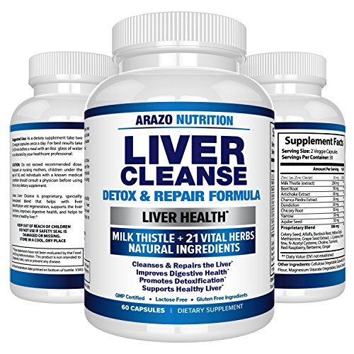Liver Cleanse Detox & Repair Formula – 22 Herbs Support Supplement: Milk thistle Extracts Silymarin, Beet, Artichoke, Dandelion, Chicory Root – Arazo Nutrition USA