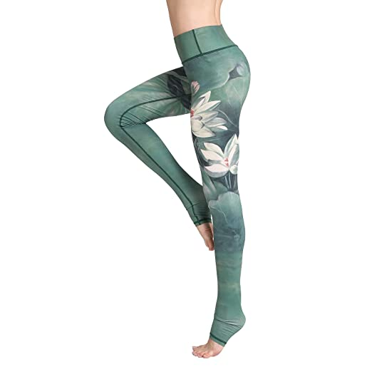 83352fd678df Witkey Printed Long Women Yoga Leggings High Waist Tummy Control Over The  Heel Yoga Pants Green