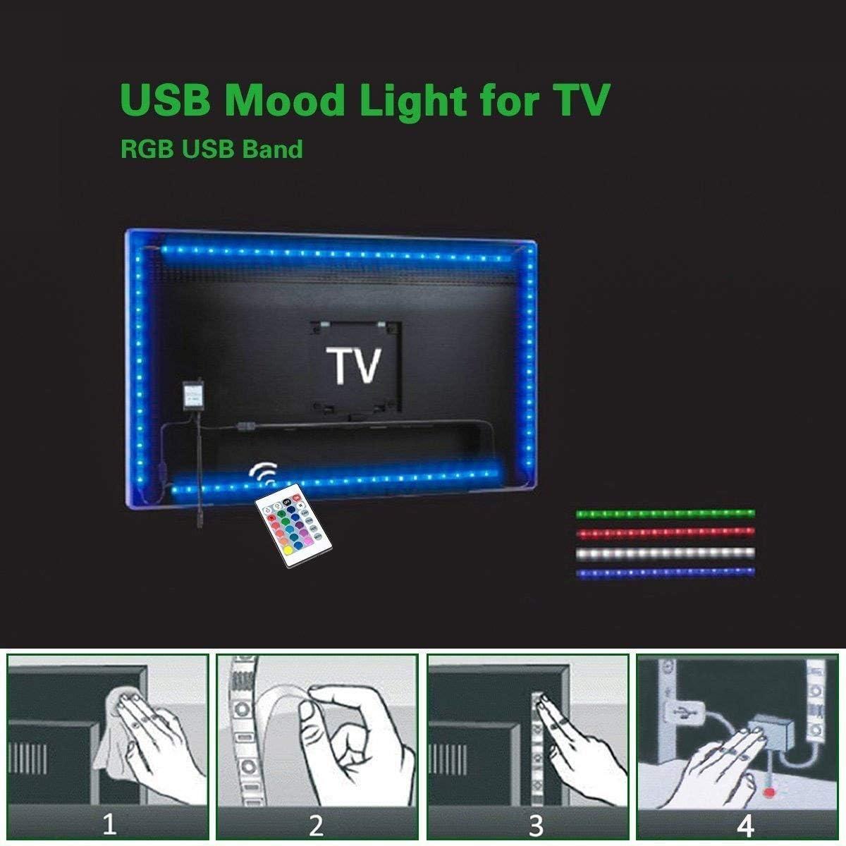 Minger USB Tira LED Luz 2*1.64ft+2*3.2ft 5050 RGB TV ambiente de iluminación +Mini Mando Control Remoto de 44 Botones: Amazon.es: Hogar