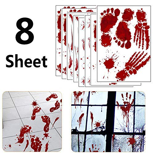 8 Sheet Bloody Footprints Hand Clings for Floor Window Wall Halloween Vampire Zombie Haunted House Indoor Party Decorations Decals Stickers Supplies Horror Bathroom Decor 9.84x13.7inch -