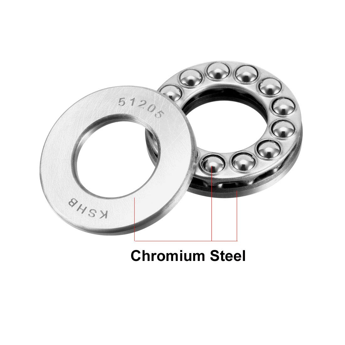 uxcell 51205 Single Direction Thrust Ball Bearings 25mm x 47mm x 15mm Chrome Steel Pack of 2