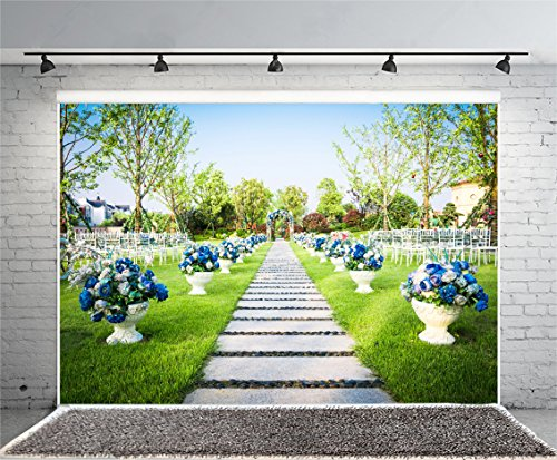 Leyiyi 10x8ft Photography Background Wedding Ceremony Backdrop Happy Valentine's Day Flower Bouquet Arch Door Garden Chairs Stone Path Grassland Christain Marriage Photo Portrait Vinyl Studio Prop