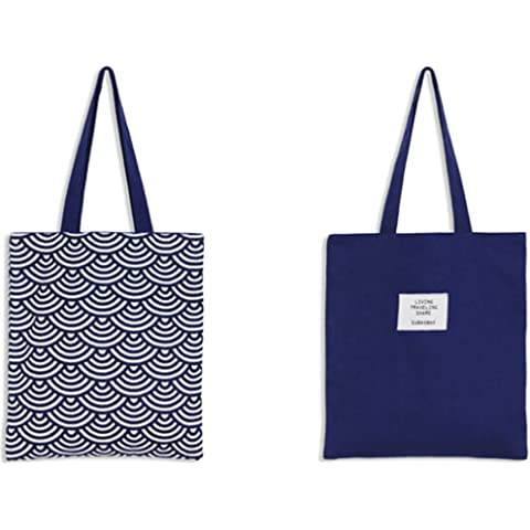 9ddb9548d143 Drawihi 1 Pc Canvas Bag Shopping Bag 100% Cotton Suitable for Student  Teacher Blue