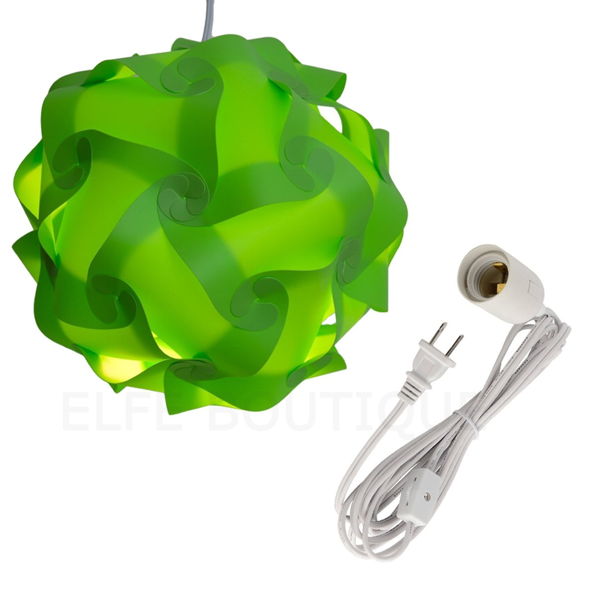 Puzzle Lights with Cord, Home Decoration Assembly Jigsaw Puzzle Lamp Shade Kit with 12' Hanging Lantern Cord with On/Off Switch,S Size (Green)