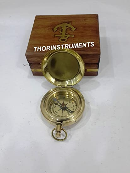 "Nautical Vintage Maritime 2/"" Brass push Button Working Directional Compass"