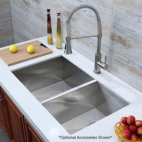 Decor Star H-003-Z 33 Inch x 20 Inch Undermount Offset Double Bowl 16 Gauge Stainless Steel Luxury Handmade Kitchen Sink Zero Radius by Decor Star (Image #3)