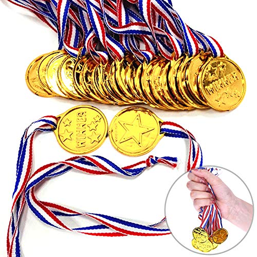 Shindel Winner Award Medals, 24PCS Kids/Children's Plastic Gold Winner Gold Award Medals with Neck Ribbon Party Favor Birthday Present Dress Up