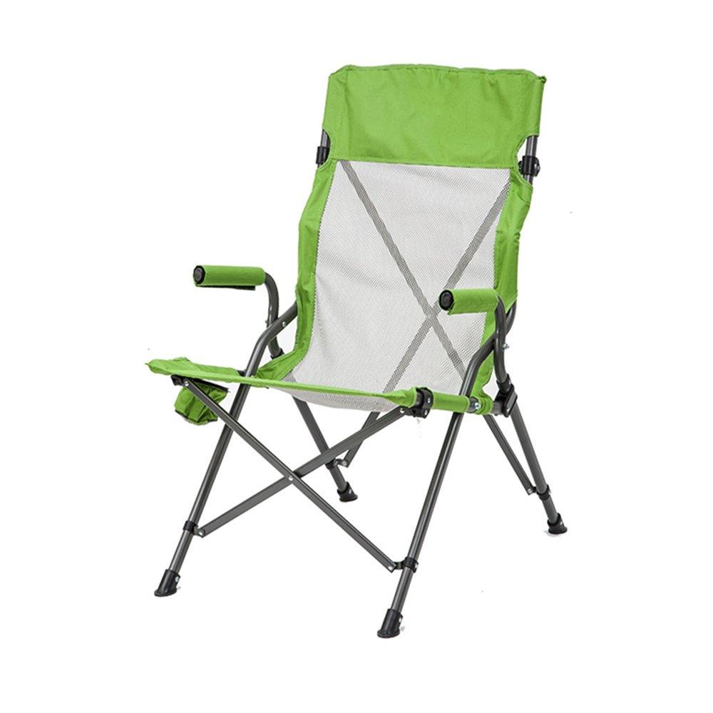YNN Freizeit Sessel weichen Sitz Mesh Outdoor Fahrstuhl komfortable Angeln Stuhl (Farbe : Grün)