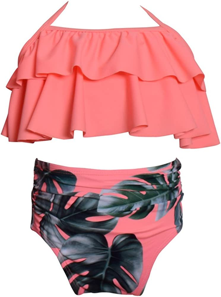 Wocau Baby Girls Two Pieces Swimsuit Ruffle Bikini Set Falbala Swimwear Bathing Suits