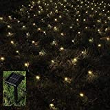 BMOUO 1Mx2M 120 LEDs String Lights Net Mesh Lights, Waterproof Solar Net Led String Lights for Outdoor, Gardens, Homes, Dancing, Christmas Party (Warm White)