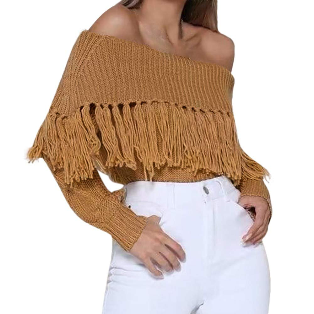 Rambling Women Casual Sexy Strapless Blouse Fashion Tassel Off Shoulder Knitted Sweater