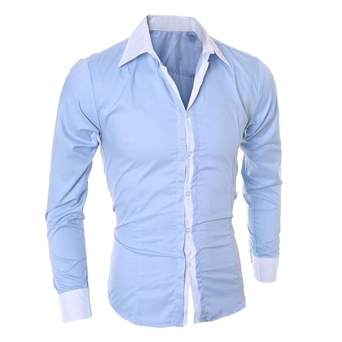 Camisa de Hombre Moda Personalidad Manga Larga Ajustado Clásico Básica Botón Formal Casual Camiseta para Hombre