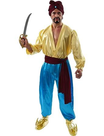 Mens Adult Sinbad Pirate Aladdin Fancy Dress Costume Ali Baba ...