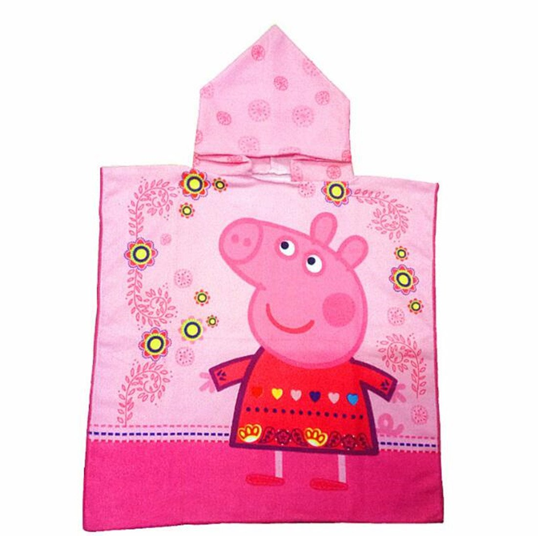 SWEETXIN Infant Kids Animal Design Hooded Bath/Beach Poncho Towel (Pepe pig)