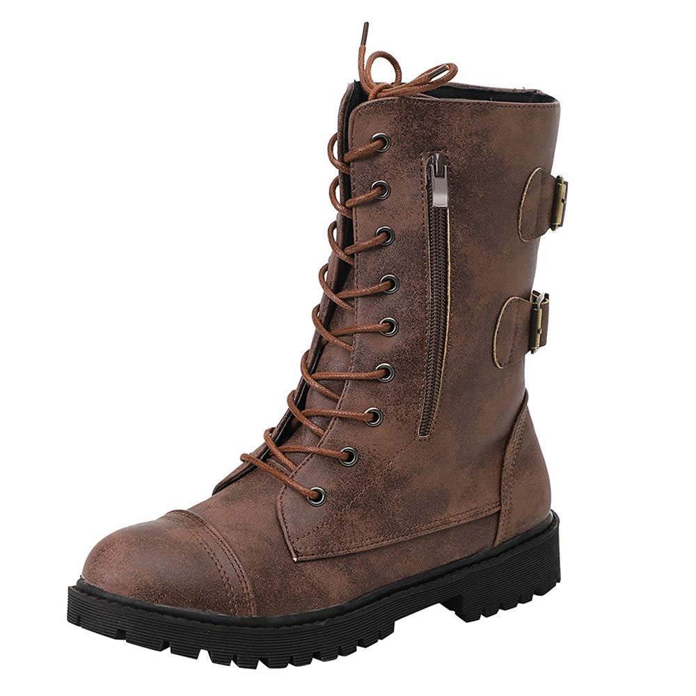 Realdo Women Martin Boots Mid Calf Combat Booties Military Shoes