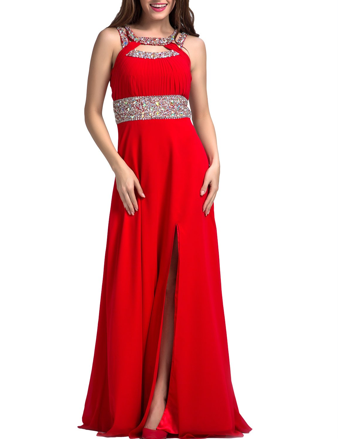 SeasonMall Womens Prom Dress A Line Scoop Chiffon Long Slit Evening Dress