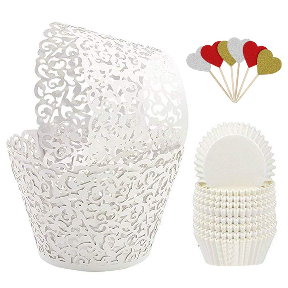BAKHUK 100Pcs White Vine Lace Hollow Cupcake Wrappers Cupcake Liners and 200Pcs White Baking Cups for Wedding, Birthday, Party etc. … by BAKHUK
