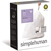 simplehuman Code R Custom Fit Trash Can Liner 10 L / 2.6 Gallon, 50 Pack