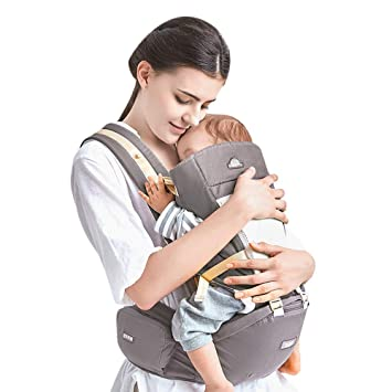 d46f8dd8920 Amazon.com   Kidsidol Baby Carrier 4-in-1 Ergonomic Baby Wrap Carrier  Comfortable for 0-36 Months Newborn to Toddler (Gray)   Baby