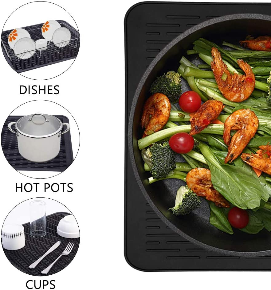 Dishwasher Safe Piduules Eco-friendly Silicone Dish Drying Mat 15.8 x 12 Large Reusable Non-slipping and Heat Resistant Dish Quick Drying Pad Black Large