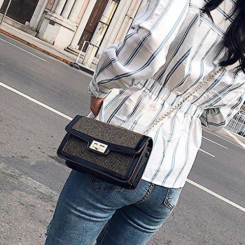 Las Pequeño Del Del Brillo Embrague Cruzado Temperamento Cuerpo De Del Bolso Señoras Bolso La Cuadrado De De Hombro Moda Black Mini wUXxtq
