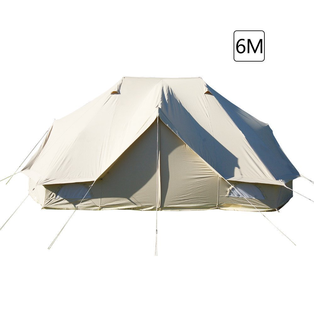 Sport Tent-Hauszelt 6m drei Türen wasserdicht Familienzelt extra große Indiana zelt luxus Baumwoll Canvas Campingzelt Gartenzelt mit Schlafbereich mehr als 8 Personen, beige