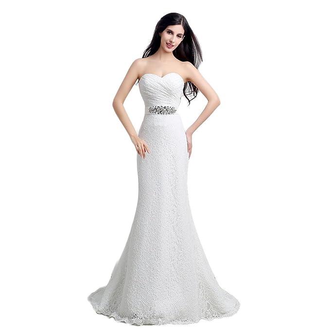 Engerla mujer corazones encaje sirena cristal Sash con lazo de playa vestido de novia, Mujer