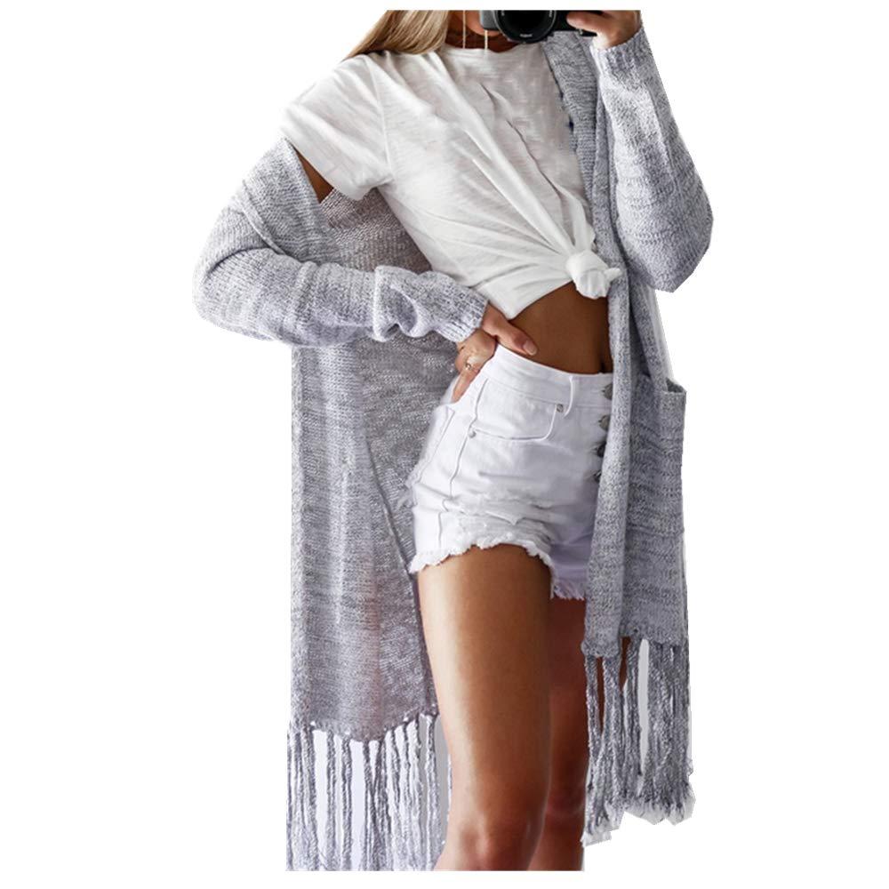 IKevan Plus Size Womens Solid Long Sleeve Fashion Tassel Cardigan Tops Sweater Coat (Size:XL, Grey)