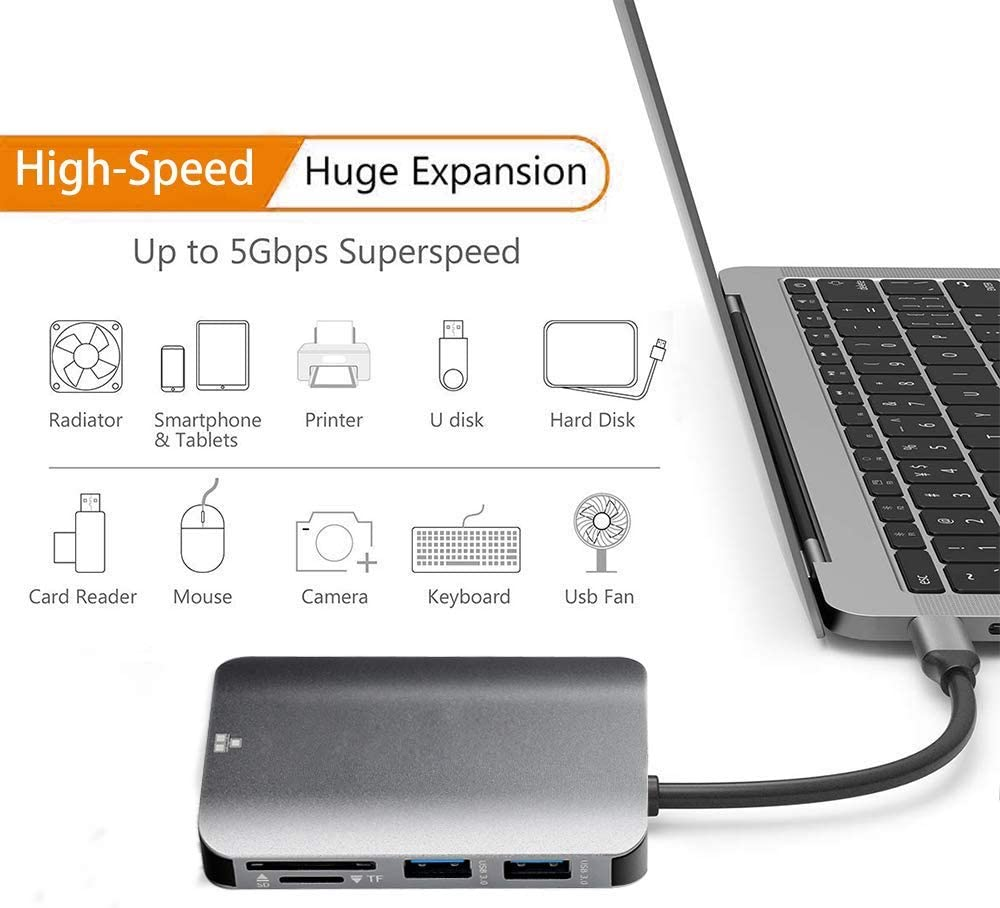 USB-C Power Delivery 4K USB C to HDMI Portable for Mac Pro 8 in 1 Type C Hub with Ethernet Port SD//TF Card Reader 2 USB 3.0 Ports 1 USB 2.0 Ports IhDFR USB C Hub