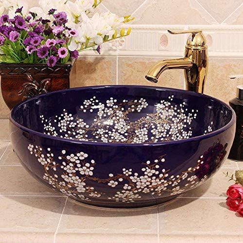 Yadianna カウンタートップクロークハンドペイント船のバスルームシンクの梅の花手描きの磁器セラミック洗面台のバスルームシンク
