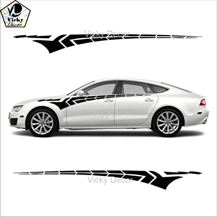 Vicky decor car side sticker crs053 black full body glossy finish size 60inch x 6