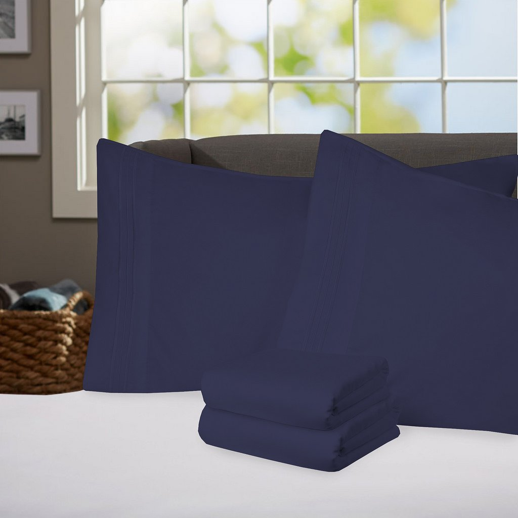 Sweet Home Collection Supreme 1800 Series 4pc Bed Sheet Set Egyptian Quality Deep Pocket - California King, Navy