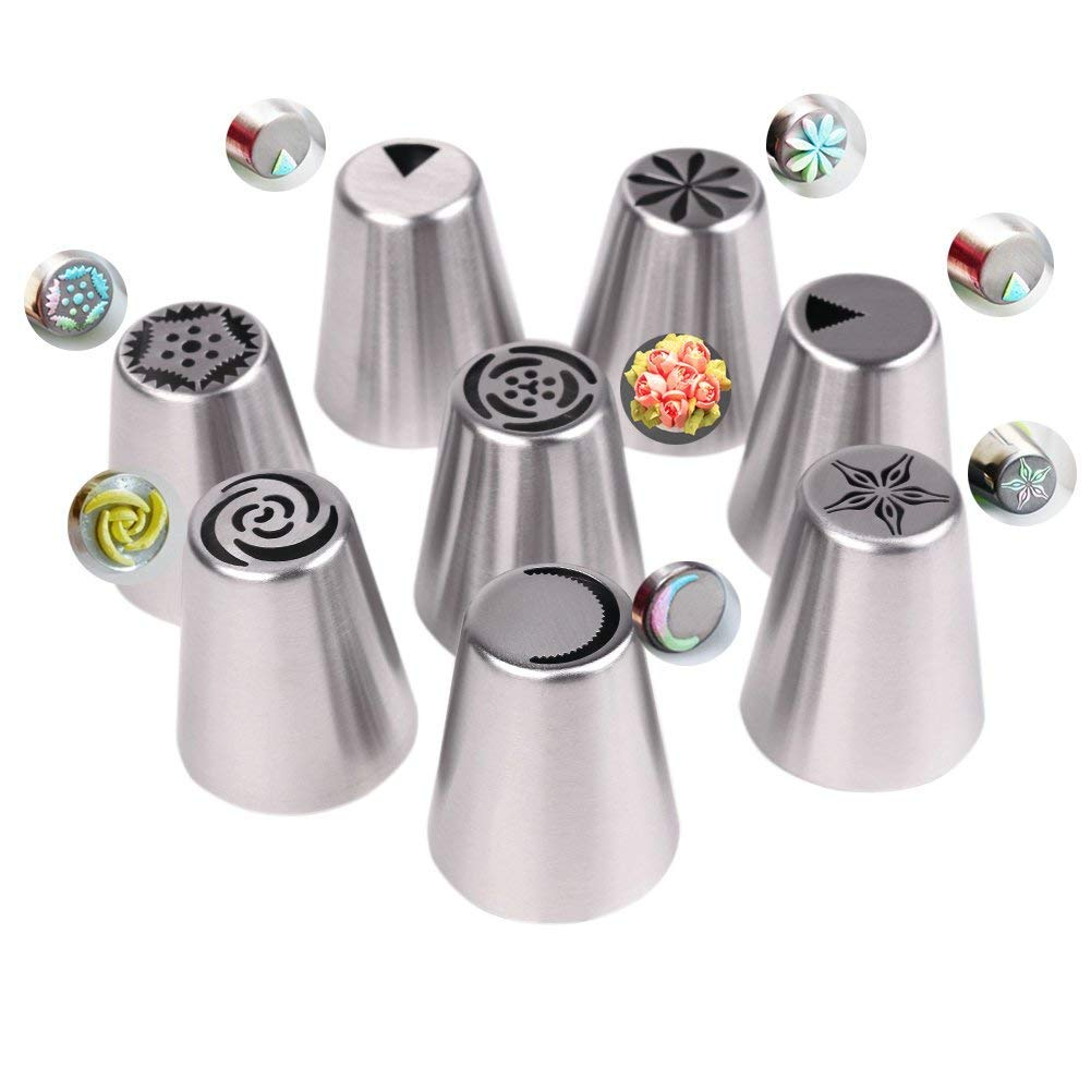 Russian Piping Tips 46 Pcs//Set-25 Russian Tips+20 Disposable Pastry Bags+1 Tri-color Coupler-304 Stainless Steel Large Size Icing Tips