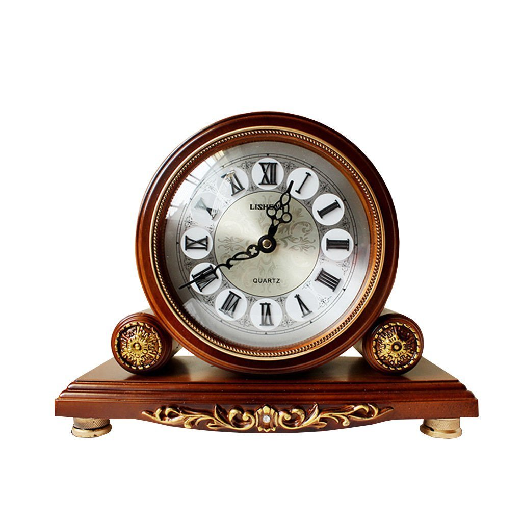 Health UK Clock- Clock Classical 12-Inch Resin Carving Art Quartz Sitting Clock Entrance TV Cabinet Sweep Seconds Mute Table Clock Welcome