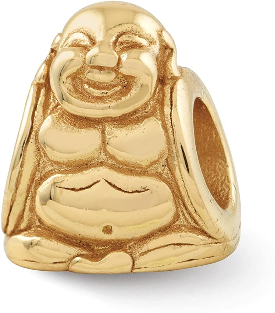 FB Jewels Solid 925 Sterling Silver Gold-Plated Reflections Buddha Bead