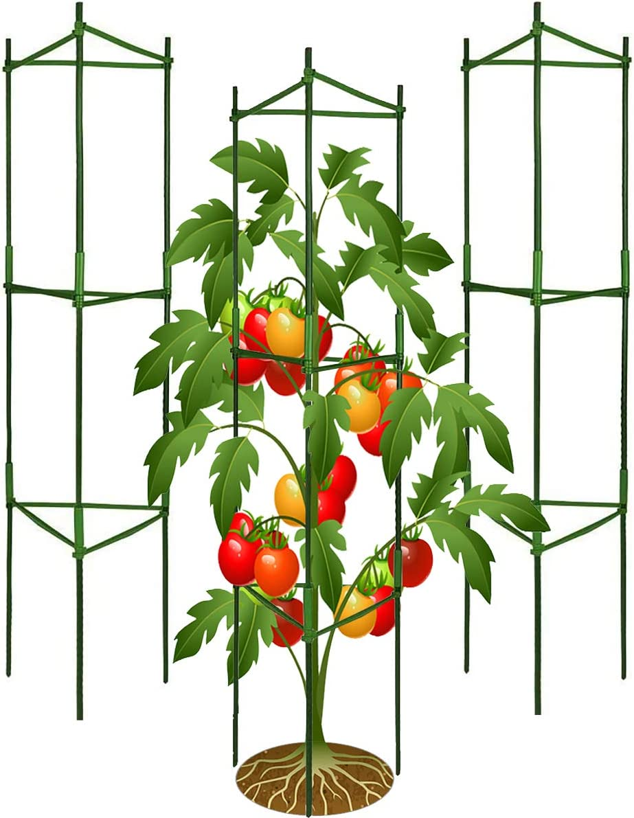 Jxrhy 3Pack Tomato Cages,Up to 51inch Plant Stakes Vegetable Trellis Assembled for Garden Climbing Plants Vegetables Flowers