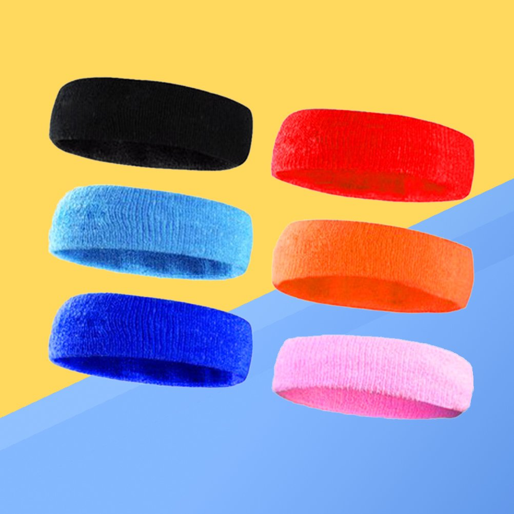 LIOOBO 6pcs Headband Non-slip Absorbnet Supe Soft Workout Headband Sweatband for Running Yoga Exercise Sports Fitness