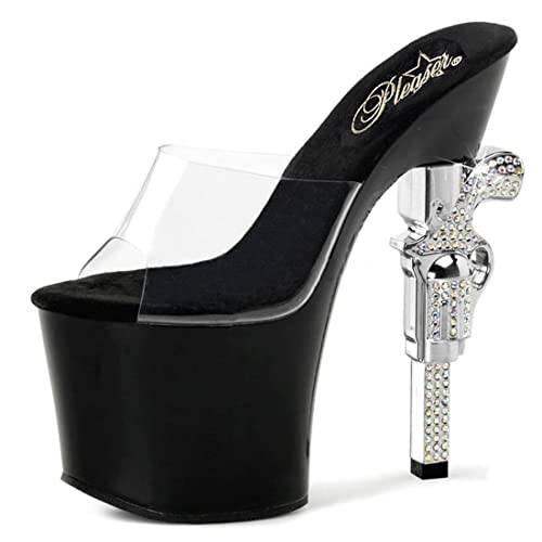 f32ad419a287 Summitfashions Black Slide Sandals with Rhinestone Encrusted Revolver  Shaped 7 Inch Heels Size  6